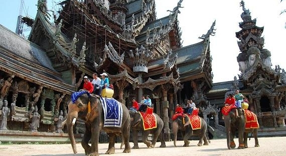 Elephant ride at the Sanctuary of truth